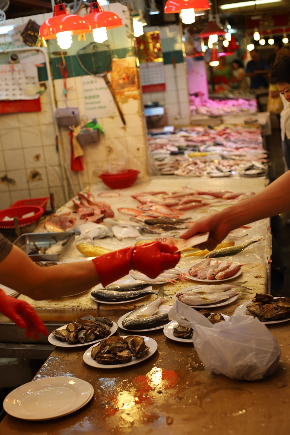persons at seafood store