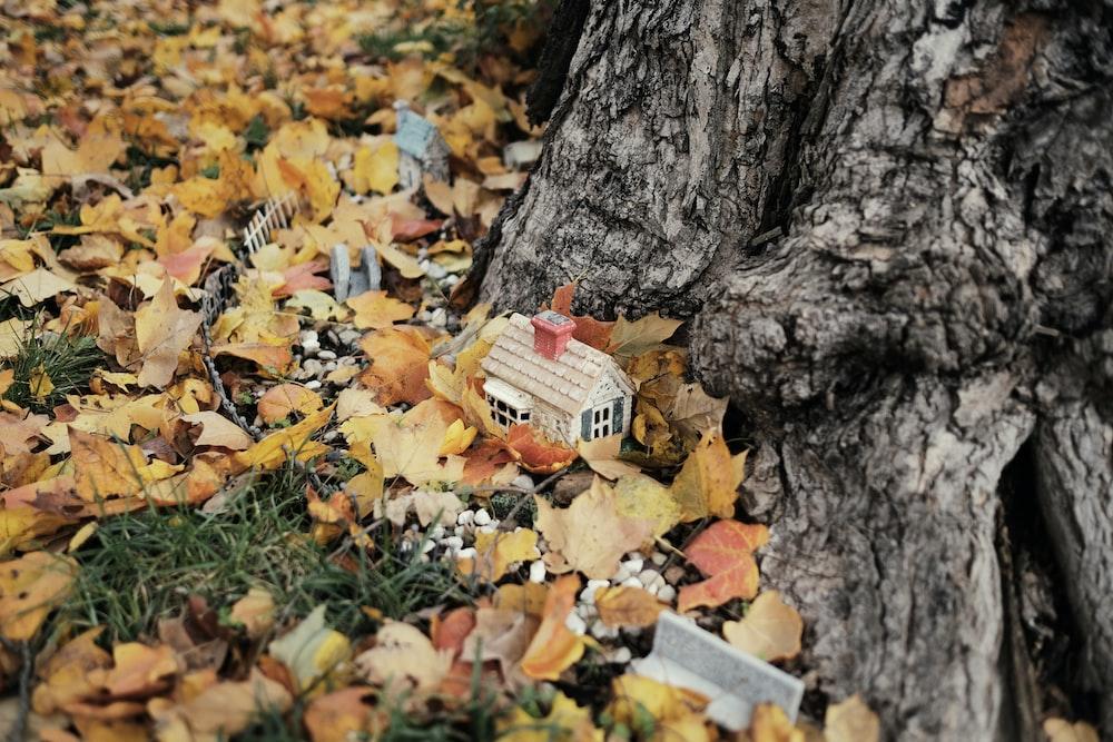 house miniature beside tree