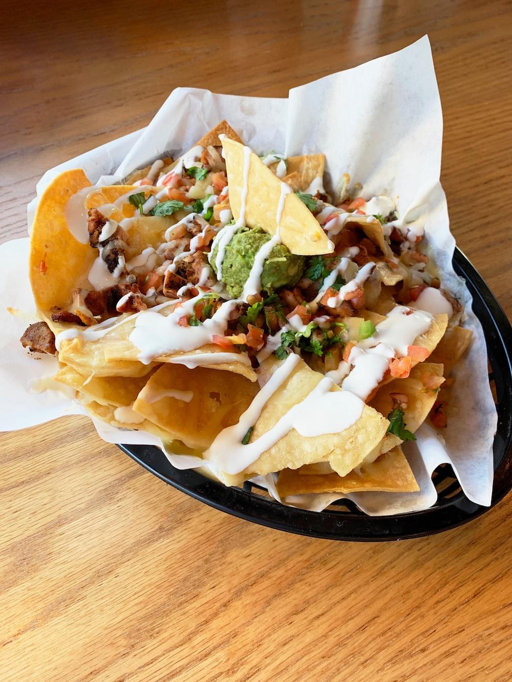 nachos on oval tray