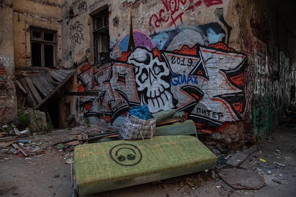 concrete wall with graffiti art