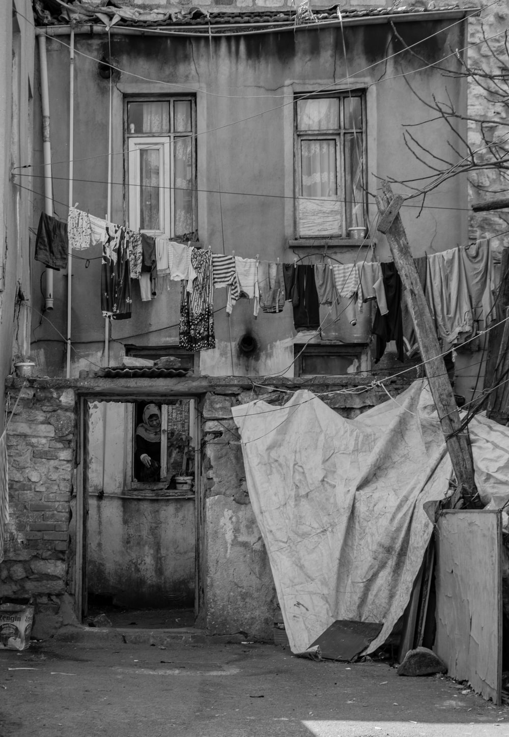 clothes in front of house