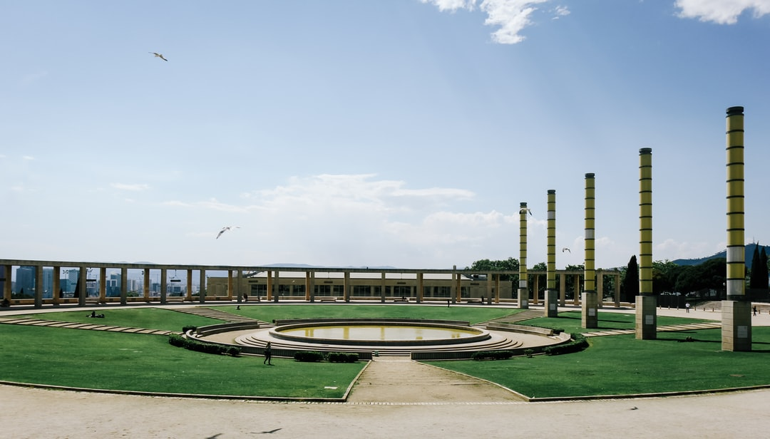 Landscape view of the plaza in the Olympic Park of Barcelona