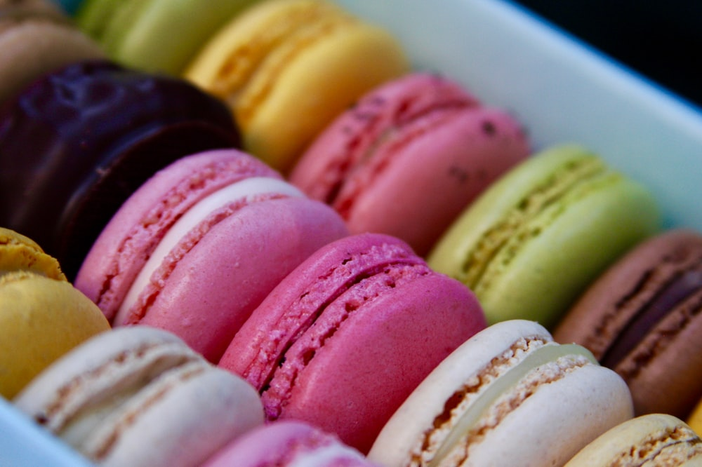 assorted-color French macarons