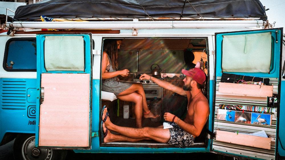 manand woman inside van
