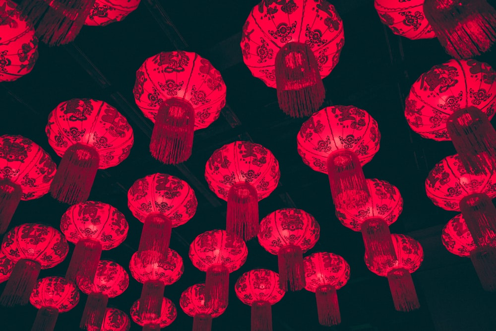 powered-on red paper lanterns