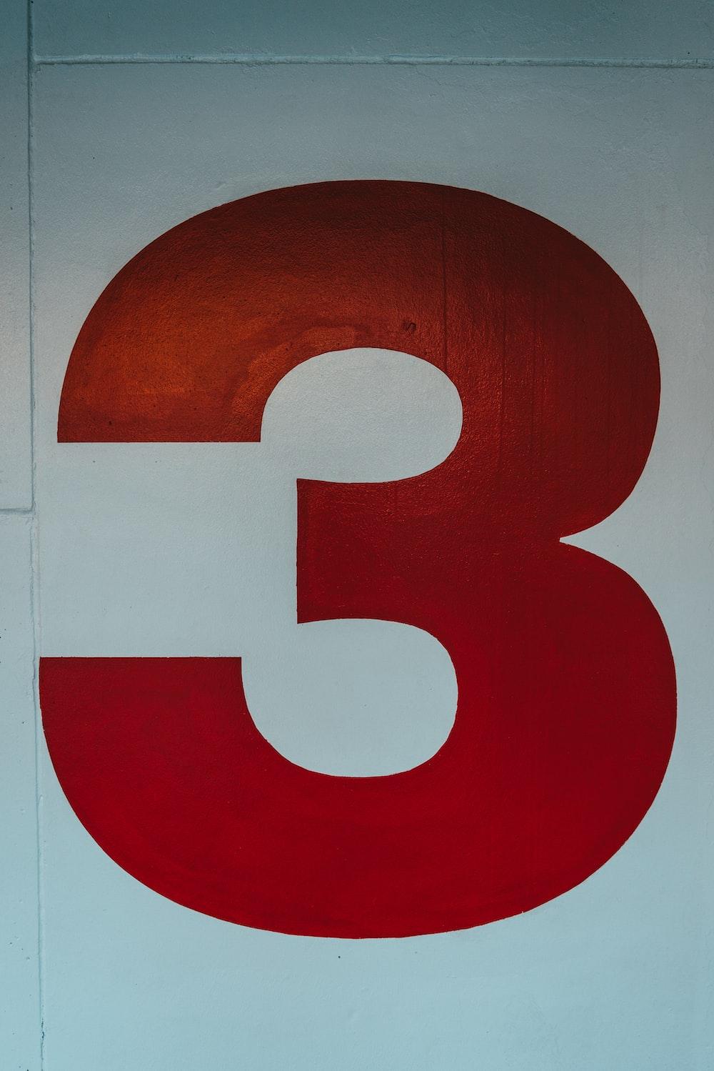 red number 3 illustration