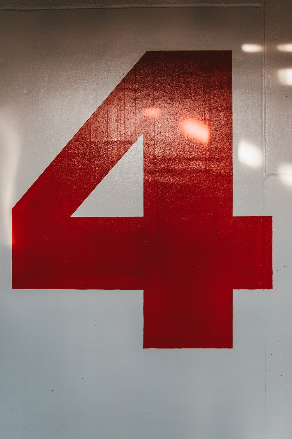 "red number ""4"" sign"