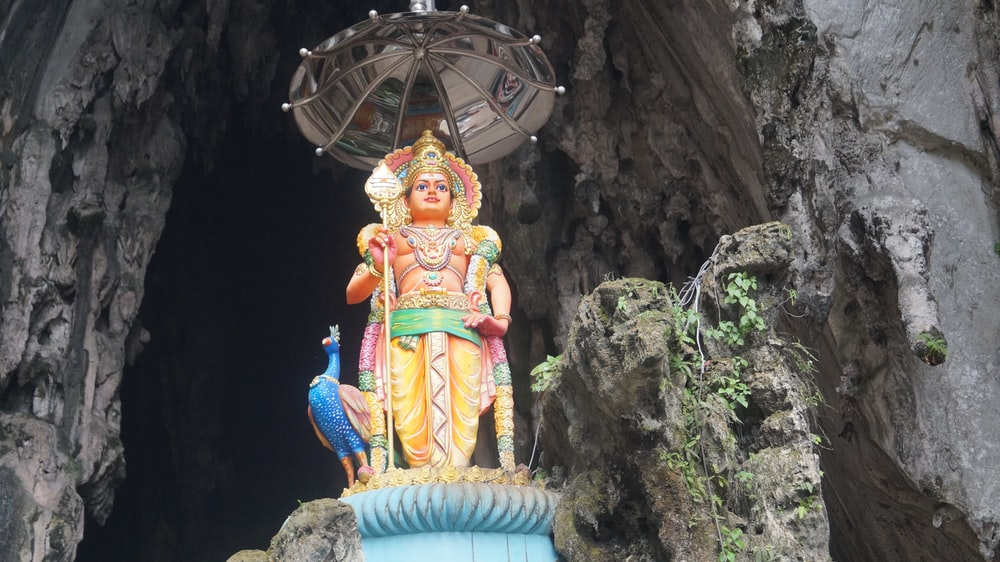 shallow focus photo of Hindu god statue