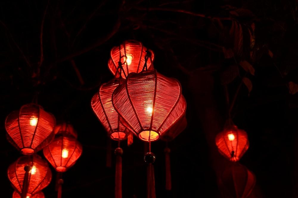 lighted red lanterns