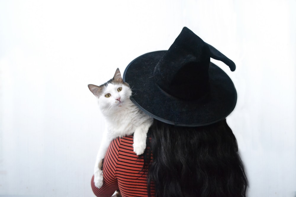 woman carries cat