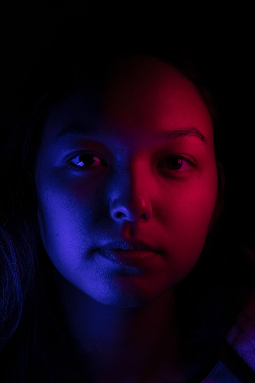 woman inside dark room