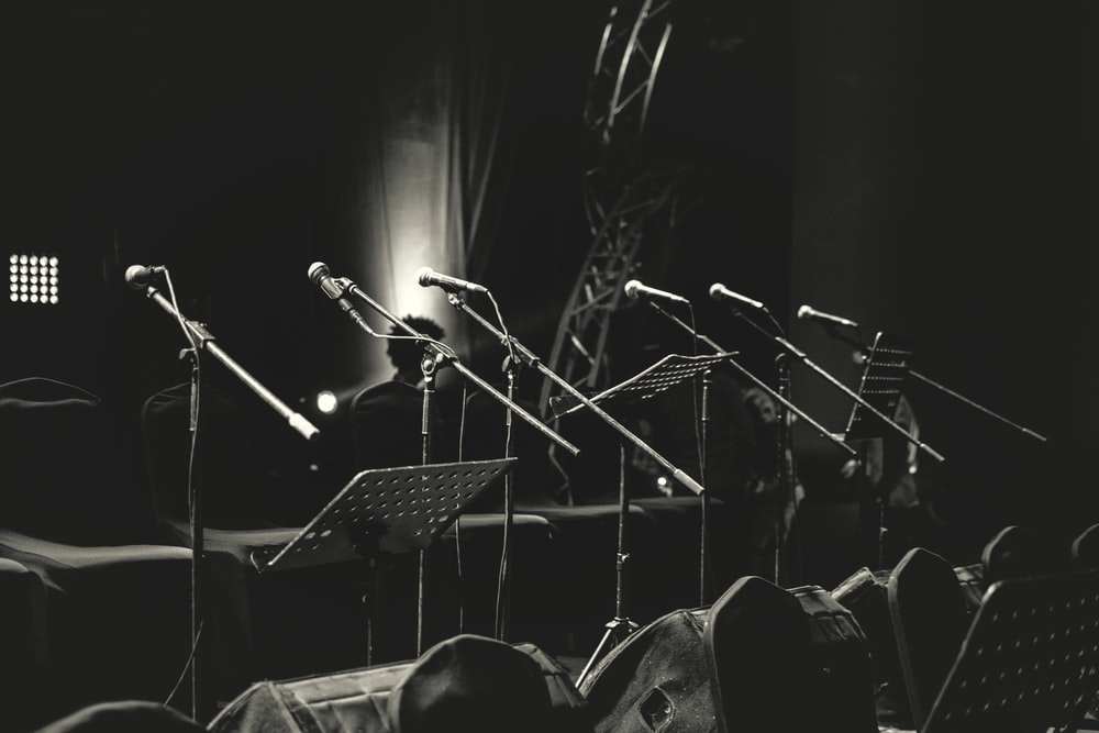 grayscale photo of microphone stands
