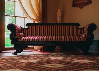 red and white striped sofa