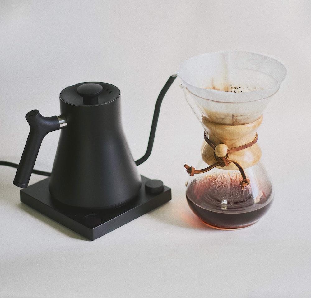 black coffee teapot
