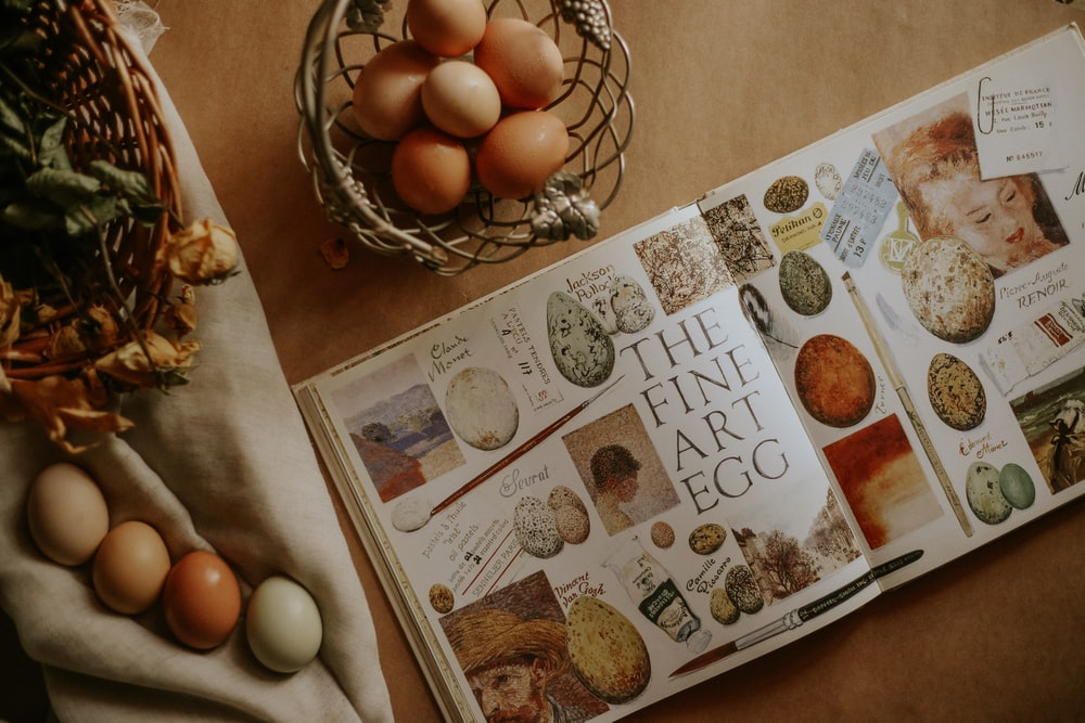 The Fine Art Egg book is open