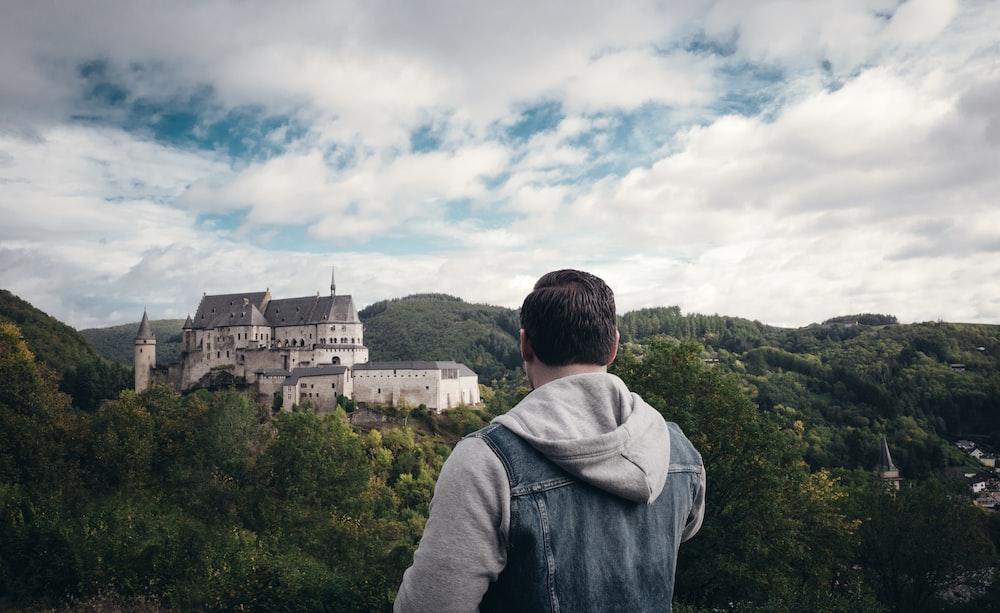 man watches castle