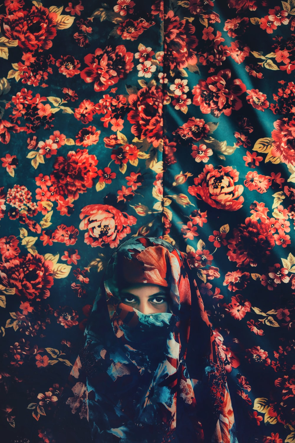 red and blue floral cloth