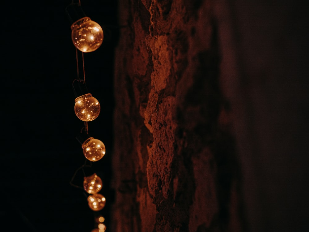 iridescent string lights by wall