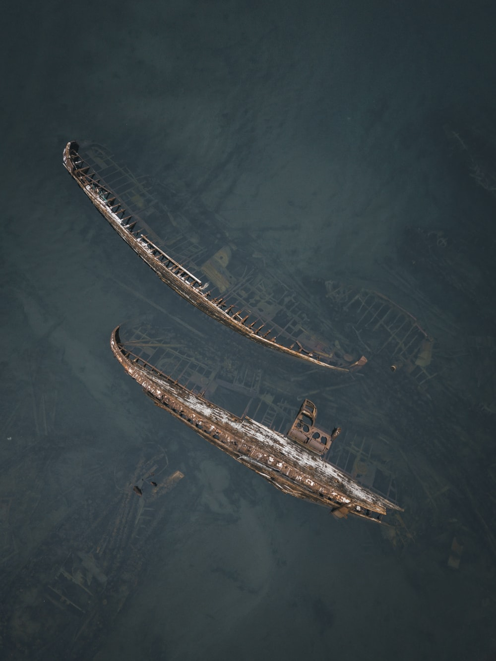 aerial photography of sink ships