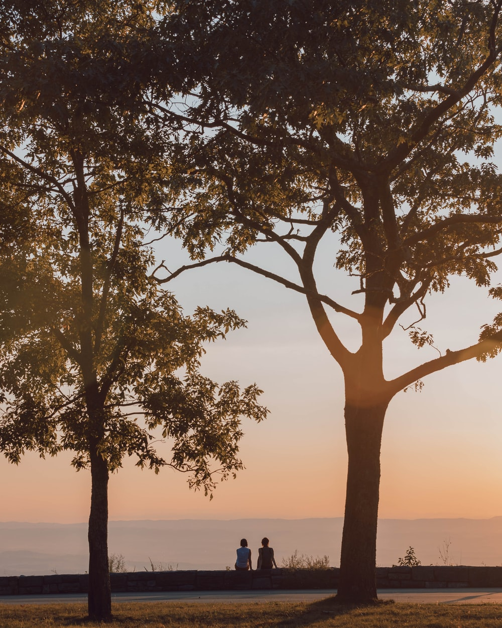 two person sitting on barrier front of sea during golden hour