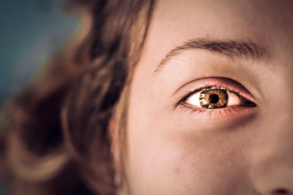 black and brown human eye