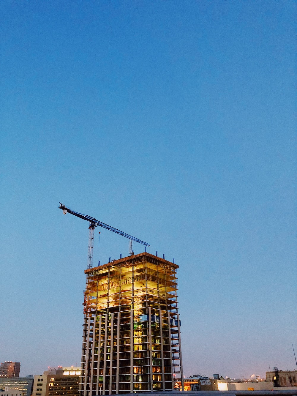 gray crane on building