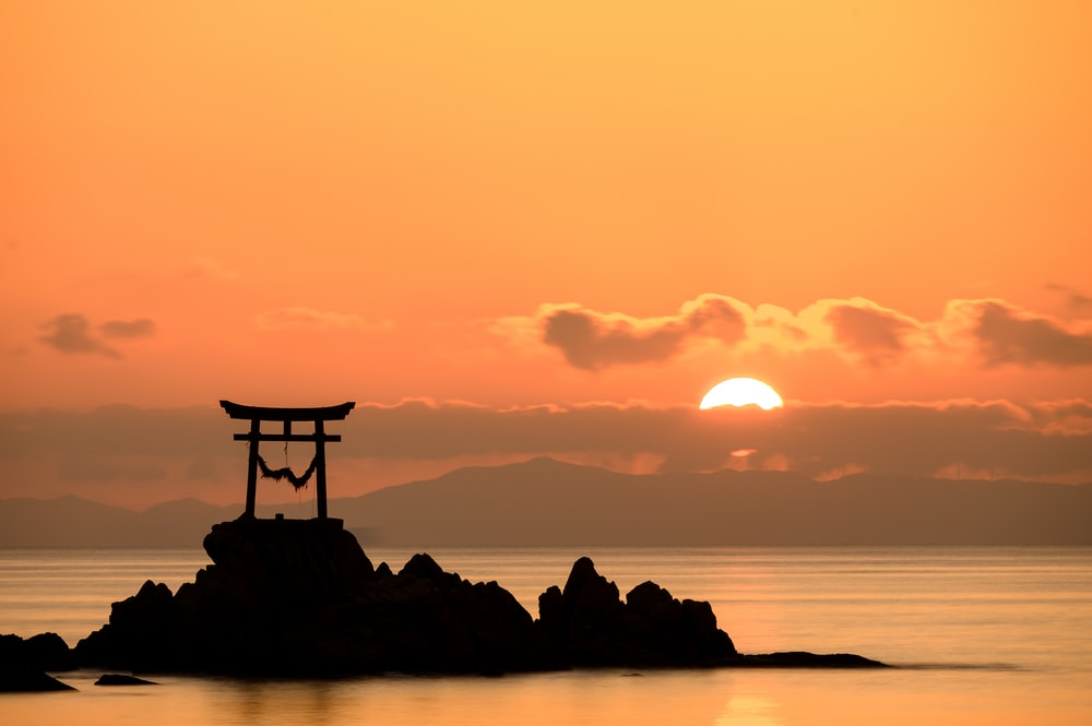 silhouette photography of island