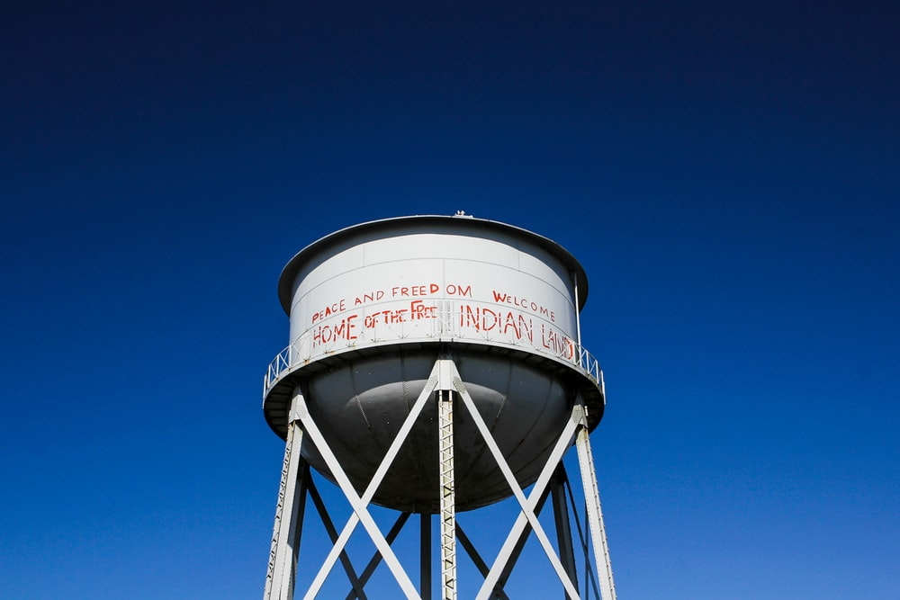white industrial water tank