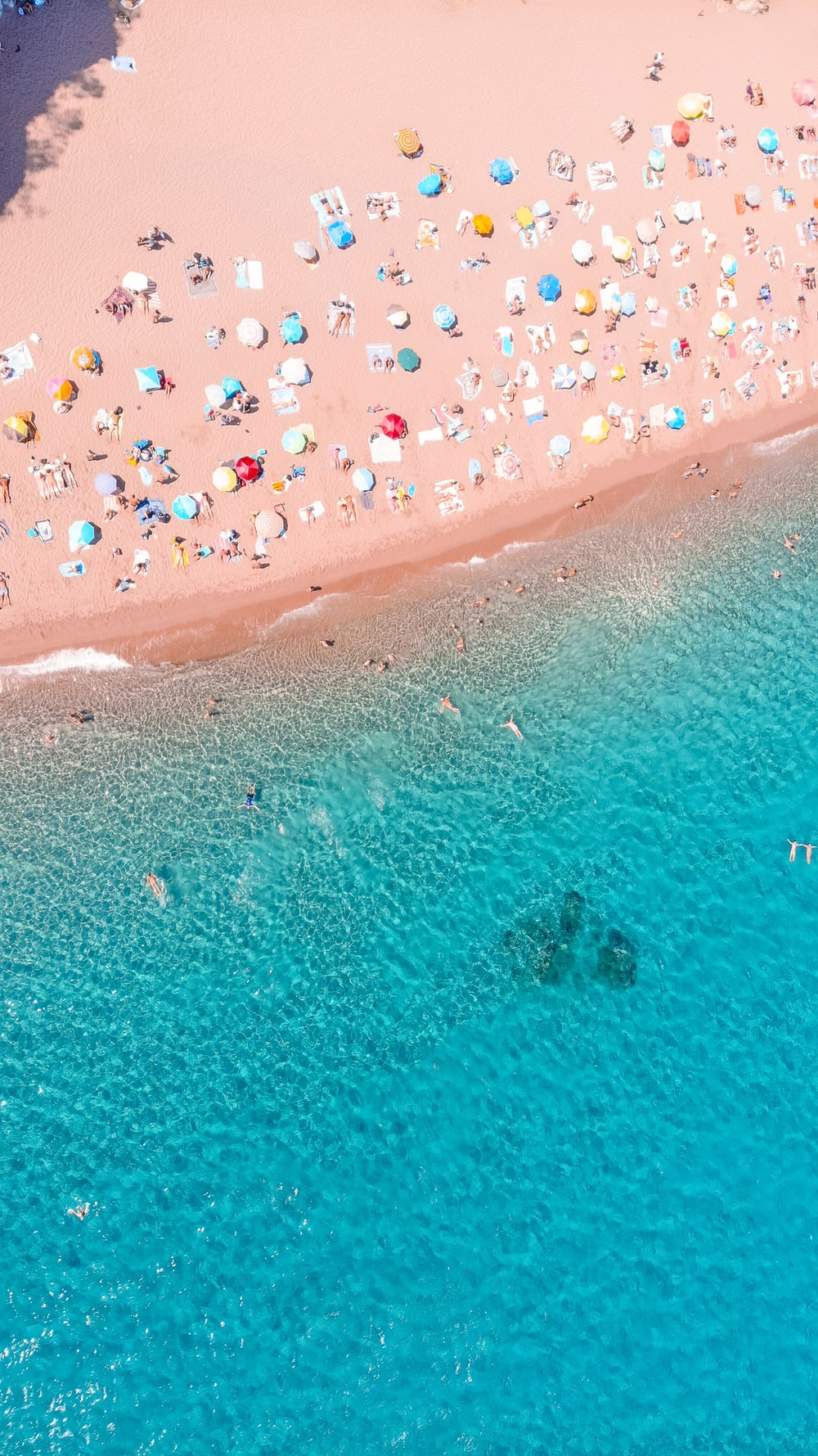high-angle photography of seashore