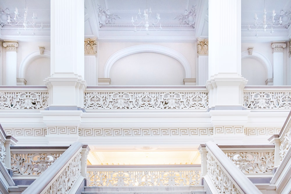 white balcony inside palace