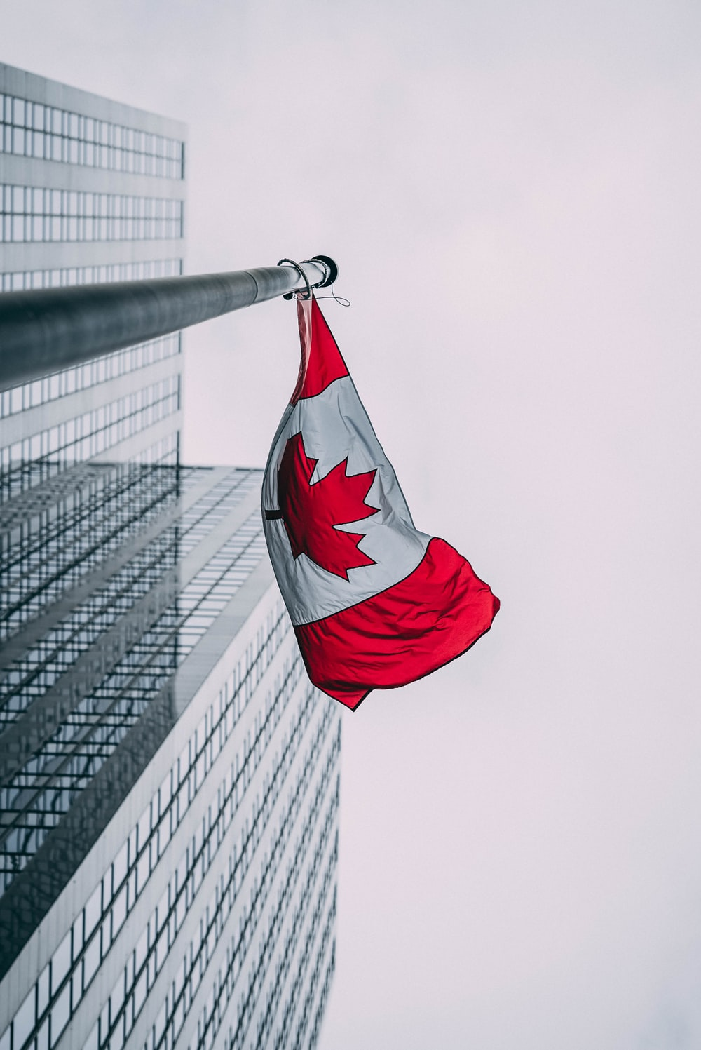 low-angle photo of Canada flag
