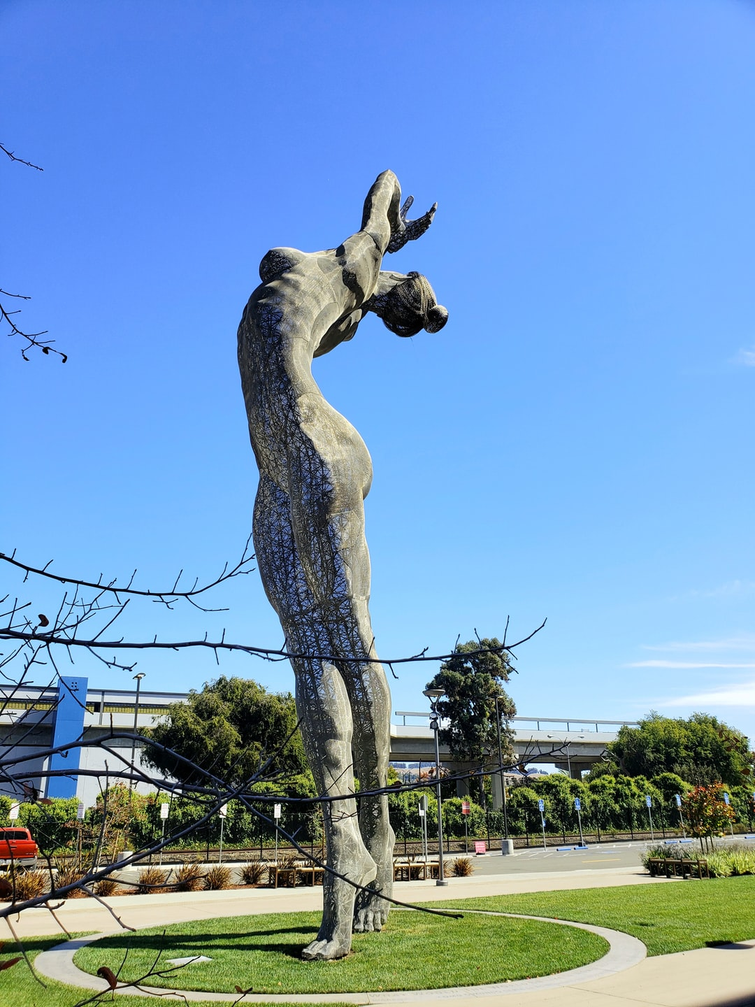 """A beautiful 55 ft. Sculpture, """"Truth is Beauty"""" in San Leandro,California. The sculpture was first revealed at Burning Man in 2013. Sculpted by Marco Cochrane of a woman, Deja Solis."""
