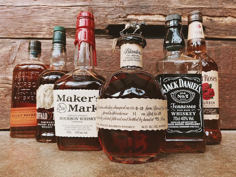 six beverages glass bottles