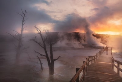 The Big Trip   Moody Morning at Mammoth Hot Springs in Yellowstone National Park - Explore more at explorehuper.com/the-big-trip