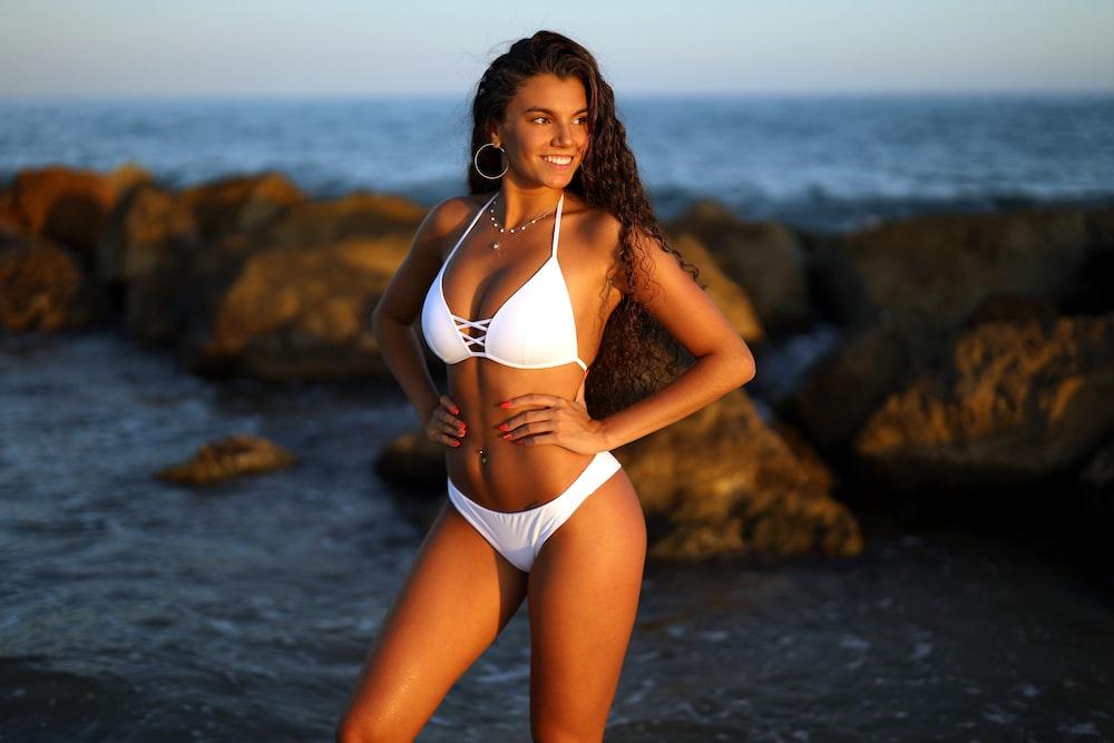 shallow focus photo of woman in white bikini