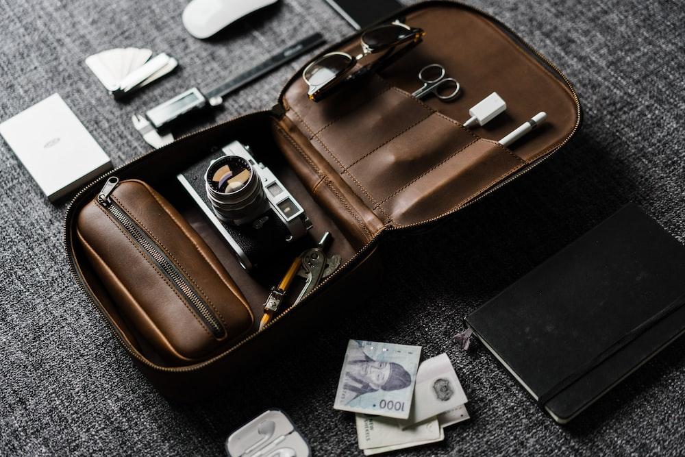 camera in brown bag