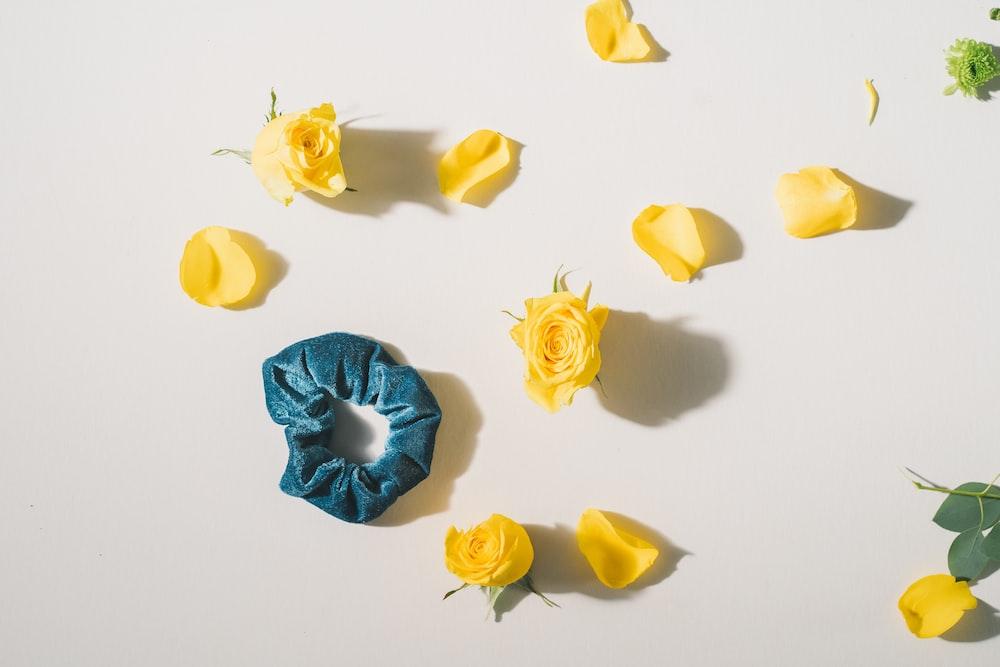 blue hair tie near yellow rose flowers