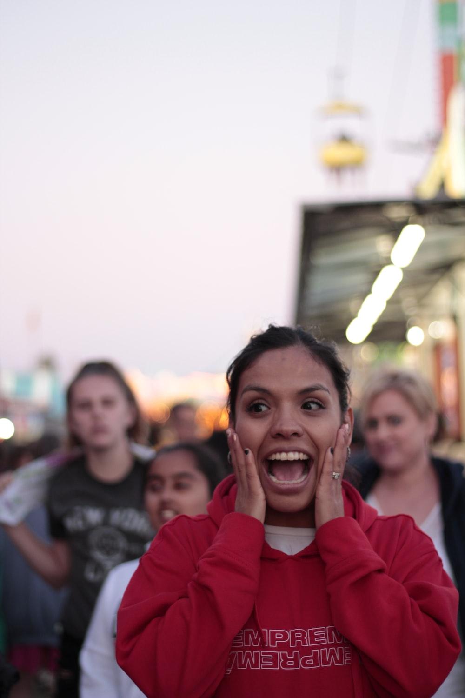 woman in shouting gesture