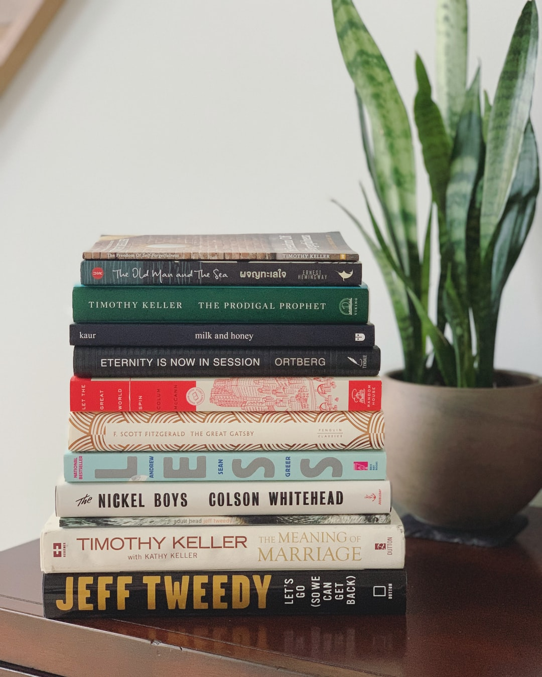 Books stacked on a table.