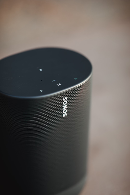black Sonos portable Bluetooth speaker