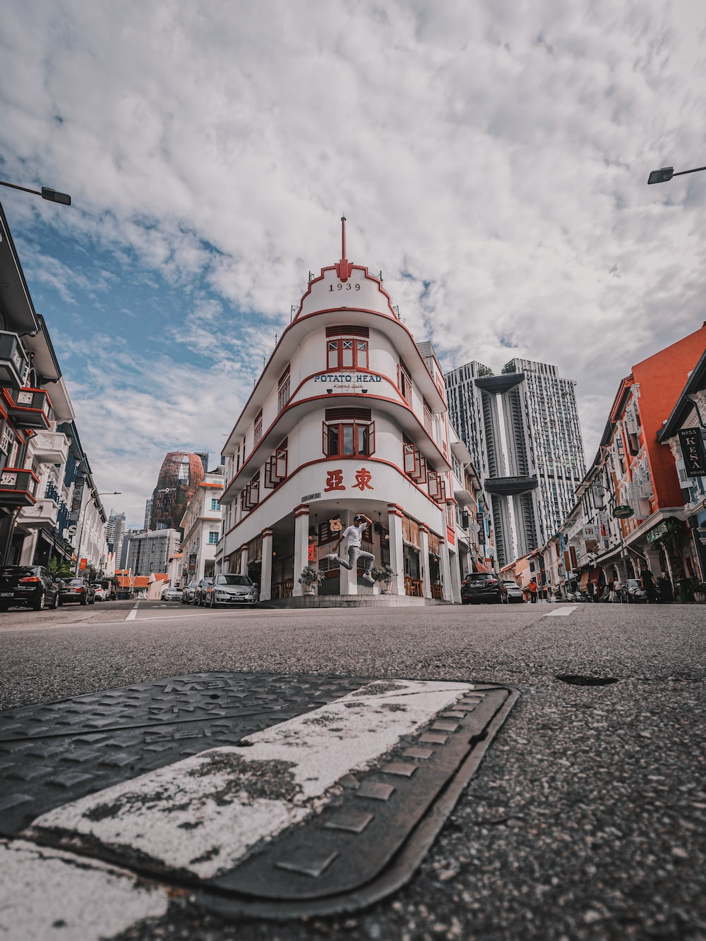 architectural photography of white and red building