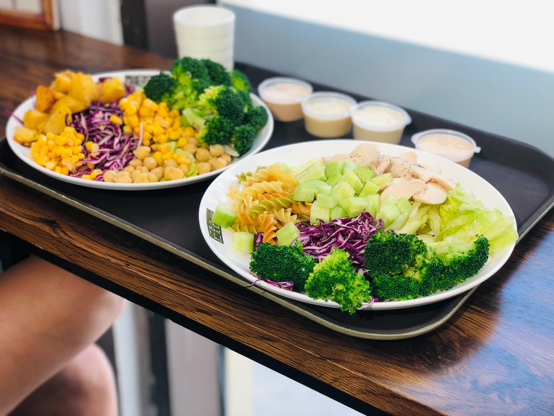 Salad - Getting a healthy breakfast is the start of a good day.  Ingredients: - Twisted Pasta - Brocolli - Cucumber - Purple Cabbage - Normal Cabbage - Mayonnaise - Mustard Sauce - Chicken Breast - Corn - Roasted Potatoes - Chickpeas - Yoghurt