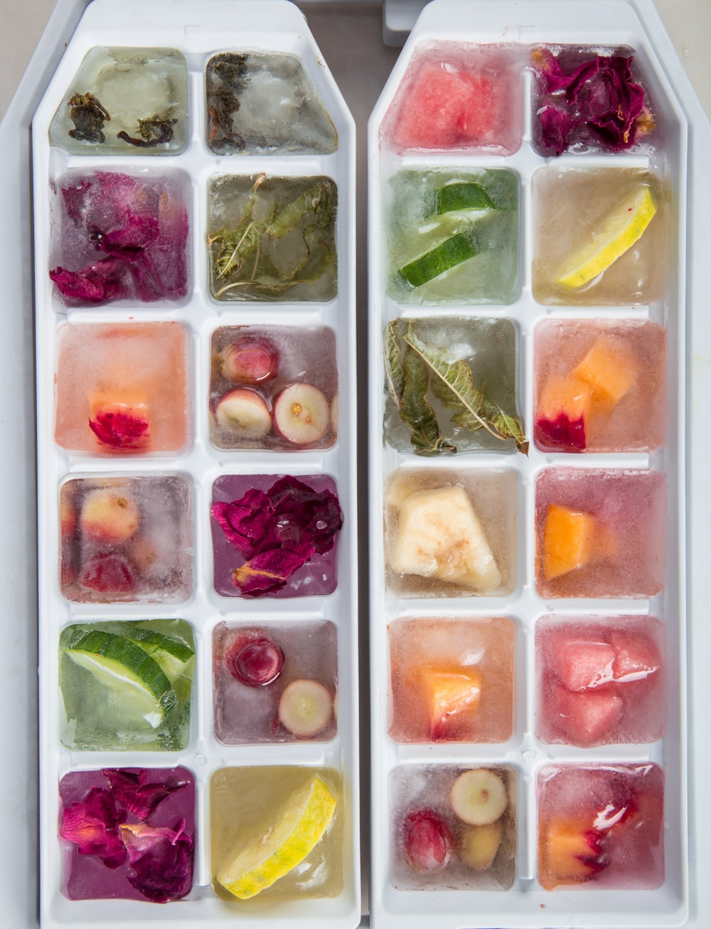 vegetable slices in ice cube molds