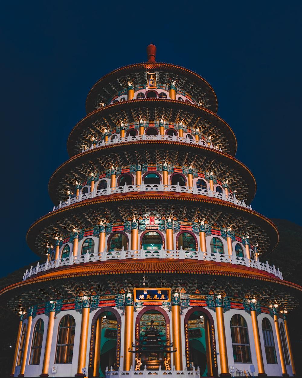 multicolored 5-tier pagoda building