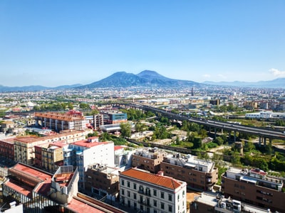 Naples cityscape under blue sky