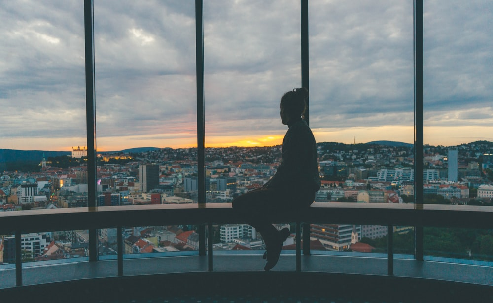 silhouette of sitting girl
