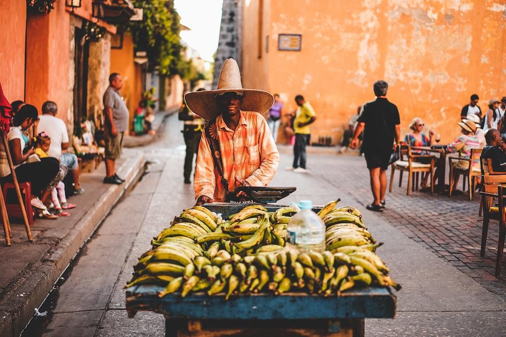 yellow banana fruits in cart