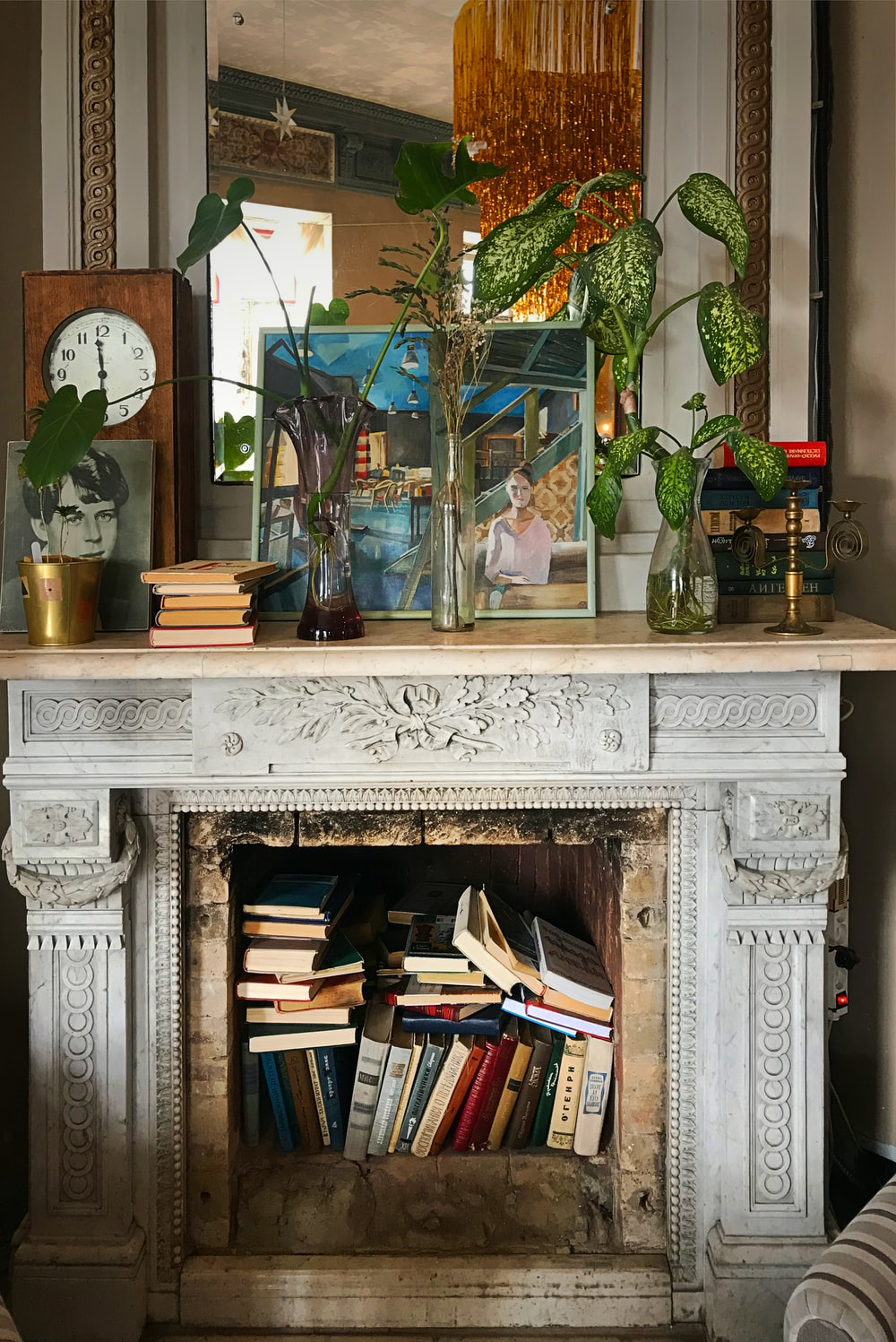 white and brown wooden fireplace