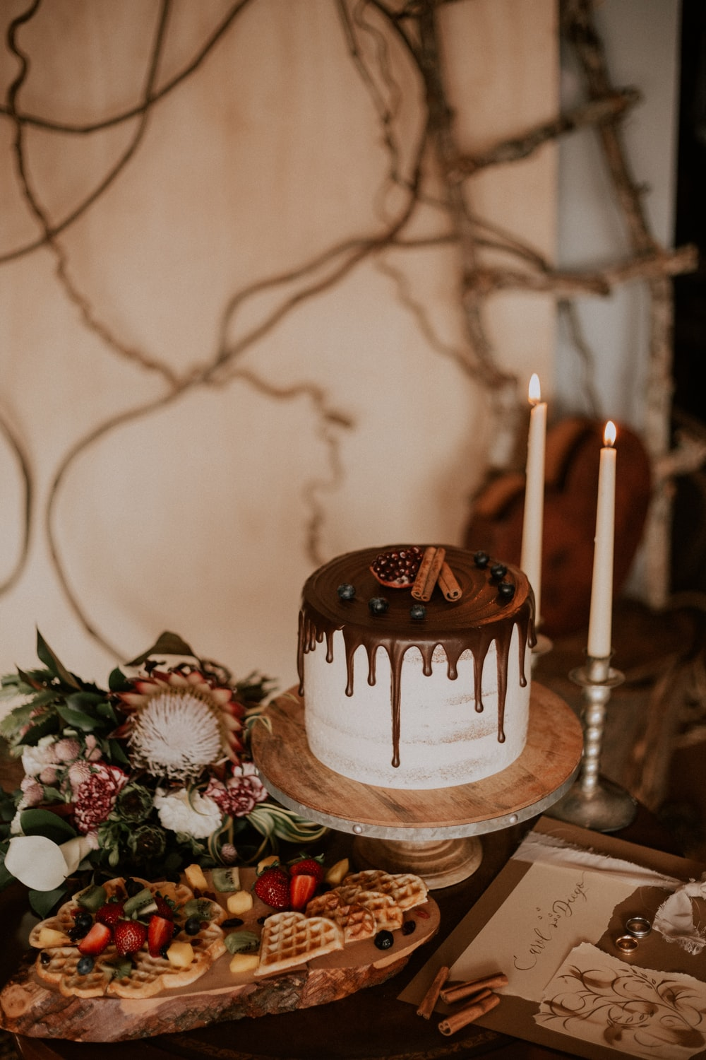 chocolate cake beside candles