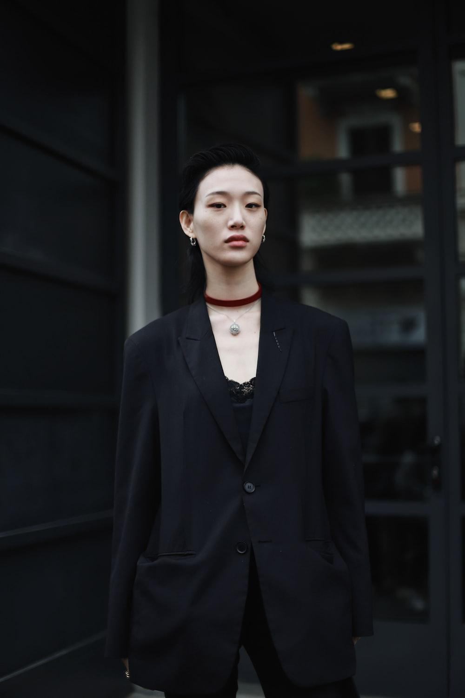 woman in peaked lapel blazer